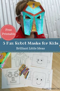 Free Printable 5 Fun Robot Masks for Kids. Great activity for kids. Brilliant robot role play idea or weekly theme. Enjoy this simple craft for kids.