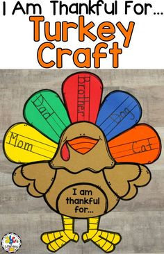 "Are you looking for a fun, This ""I Am Thankful For."" Turkey Craft and Writing Activity is a cute and creative way to get your students to think and write about what they are thankful for this season. Hang your rafter of turkeys on a bu Thanksgiving Bulletin Boards, Thanksgiving Activities For Kids, Thanksgiving Decorations, Thanksgiving Turkey, Kindergarten Thanksgiving Crafts, Thanksgiving Writing, Thanksgiving Quotes, Thanksgiving Celebration, Kindergarten Crafts"