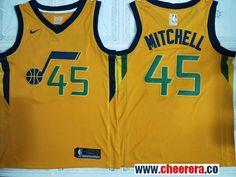 Men s Utah Jazz  45 Donavan Mitchell Gold 2017-2018 Nike Swingman Stitched NBA  Jersey 091580f98