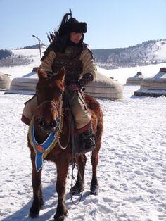 Mongolian worrior. Eagle Festival at Chinggisiin Khuree 05.03.2014.