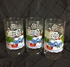 Vintage Pepsi Cola Christmas Glasses Tumblers Tree Horse Sleigh Set of 3