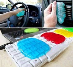 Awesome Cleaning Slime 1 tablespoons of white (Elmers) glue. Add about 1 spoon full of water. Mix. Then in another cup put 2 tablespoons of borax and 2 tablespoons of water. Pour the glue solution and the borax solution together and you get slime. Add some food color to the glue first if you want a cool color. Use mold of your choice...shallow plastic container, etc. Can be re-used many times. When it gets filled with the gunk you have been cleaning, throw it out and make some more!!