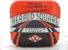Vintage Art Deco Typewriter ribbon tin Herald by VogelHausVintage, $8.00
