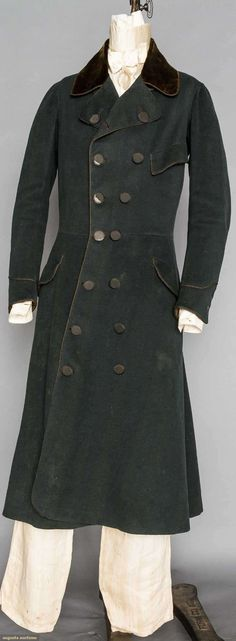 Gent's Green Greatcoat/surtout, American, 1820s, Augusta Auctions, November 11, 2015 NYC
