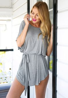 Dress // This grey t-shirt dress is designed with a scoop neckline and waist strap to help cinch your waist. Just wear this with a floppy hat and you're set for an afternoon out with the gang.