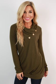 Cabin Fever Button Tunic Sweater in Army Green