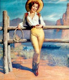 Pin up vintage Pin Up Vintage, Vintage Cowgirl, Vintage Art, Vintage Posters, Vintage Jewelry, Pin Up Girls, Usa Girls, Cowgirls, Vaquera Sexy