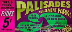 "Cliffside Park (Bergen County) - From 1898 to 1971 Palisades Amusement Park was a summer destination for millions in the tri-state area.  In 1968 this recording beckoned people to ""Come On Over."""