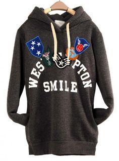 Deep Gray Honorary Badges Hooded Sweatshirt$43.00