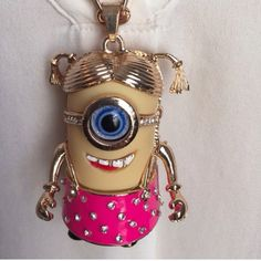 """Cute Pink Minion Necklace~New~25"""" W/Extend Chain~ Cute Pink Minion Necklace~New~25"""" W/Extend Chain~Minion Pendant is a little over 2""""~Firm unless bundled~NEW Cute Jewelry Necklaces"""