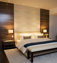 Obsessed!!!! NITZAN DESIGN - nice verticle stripe headboard & materiality in this master bedroom interior