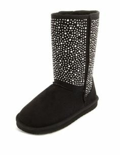 fur-lined rhinestone sueded boot