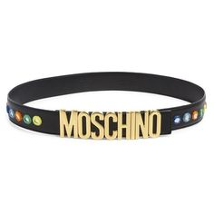 Moschino Embroidered Mirror Logo Belt ($550) ❤ liked on Polyvore featuring accessories, belts, black multicolor, mirror belt, logo belts, embroidered belts, colorful belts and multi color belt