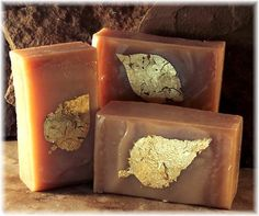 My sensuous sandalwood cold process soap, hand made, with pure gold leaf. Opulent!