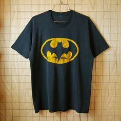 USA製ビンテージ古着ブラックバットマンプリントTシャツ|サイズメンズML相当|アメコミ