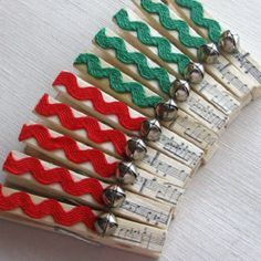 Items similar to Christmas clothespins xmas card clips christmas card holders decorated clothespins red and green jingle bells on Etsy Craft Stick Crafts, Christmas Projects, Kids Christmas, Holiday Crafts, Christmas Ornaments, Clothes Pin Wreath, Clothes Pegs, Clothes Crafts, Decorated Clothes Pins