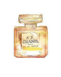 Chanel No 5 art print Paris perfume vintage bottle.
