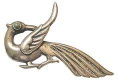 Sterling Bird Pin w/ Jade Eye on OneKingsLane.com