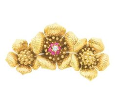 Gold, Diamond and Ruby Flower Brooch, Tiffany & Co.  18 kt., signed Tiffany & Co