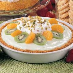 Cool Lime Pie Recipe. Very easy, love the kiwi, orange and pistachios on top!