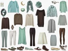travel capsule wardrobe in mint green, ivory and brown