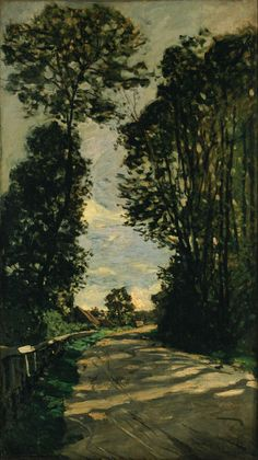 """Also titled """"Road of the Farm, Saint-Simeon, by Claude Monet, 1864. This is one of the few extant examples of Monet's earlier works. It's assortment of dark greens and browns, and its subdued tone, it is evocative of the great 17th century Dutch landscapes. Use the code """"VP20"""" during checkout at www.vintprint.com for 20% off all orders!"""