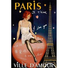 """East Urban Home 'Paris I Love You' by Vintage Apple Collection Vintage Advertisement on Wrapped Canvas Size: 18"""" H x 12"""" W x 1.5"""" D"""