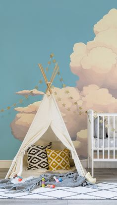 Dreamy decor for your little one's room. Soft, fluffy and fairytale-like clouds float along in this beautiful nursery wallpaper design. Perfectly suited to gender neutral nurseries looking for some colour!