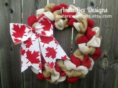 Canada Day Wreath, Canada Wreath, Canadian Decor, Maple Leaf by AnitaRexDesigns on Etsy https://www.etsy.com/listing/235742515/canada-day-wreath-canada-wreath-canadian