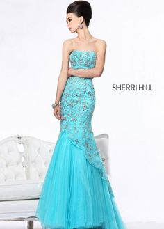 Blue Strapless Beaded Tulle 21042 Mermaid Gown