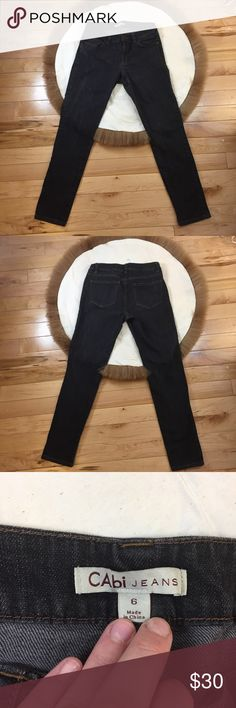 CAbi Charcoal Skinny Jeans Size 6 CAbidark gray 5 pocket skinny jeans. Style#202. Size 6. This item is from a smoke-free home.   Measurements Inseam: 28.5 Inches Waist: 31.5 Inches *All measurements have been taken flat*  Please let me know if you have any questions. CAbi Jeans Skinny
