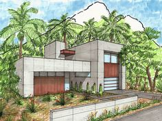 Exclusive 4 Bed Modern House Plan with Spacious Outdoor Living -Plan Exclusive 4 Bed Modern House Plan with Spacious Outdoor Living - Architecture Concept Drawings, Facade Architecture, Chinese Architecture, Futuristic Architecture, House Sketch, House Drawing, Perspective Sketch, Casa Patio, Building Sketch