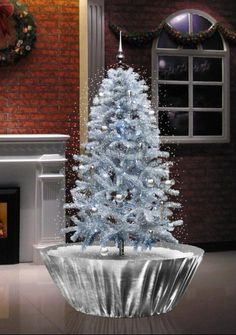 Snowing Christmas White Tree Silver Base 4 Feet 5 inches Tall