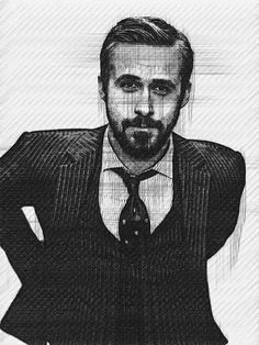 Ryan Gosling Drawn By Khaled