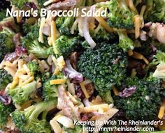 Quick & Easy #Recipe: Nana's Broccoli Salad ~ Great for #PotLuck Dinners - Keeping Up With The Rheinlander's