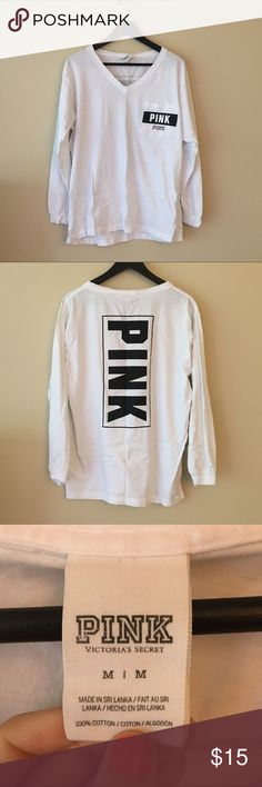 VS Pink long sleeve black and white tee w/ pocket Long sleeve from VS Pink, black and white with front pocket. V neck. In excellent used condition, no signs of wear or stains. Great for lounging! PINK Victoria's Secret Tops Tees - Long Sleeve