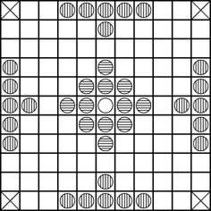 Game of Hnefatafl (also Hneftafl) ~~  This is an old Norse game that is found in many Viking and Norse sites.