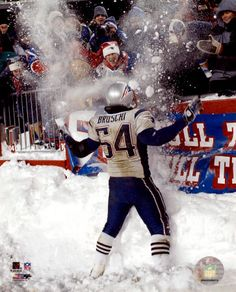 Tedy Bruschi, legendary Patriot. No one can play in the snow and win as well as my Patriots!