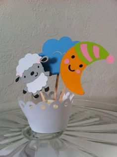 Lamb Moon and Cloud Cupcake Toppers by JellyBeanPaper on Etsy, $10.00