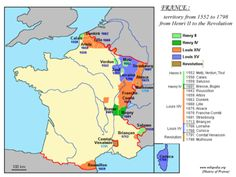 Territorial expansion of France under Louis XIV (1643-1715) is depicted in orange.
