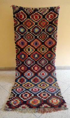 Authentic Handmade Moroccan Boucherouite Rug Runner Carpet 5 X 3