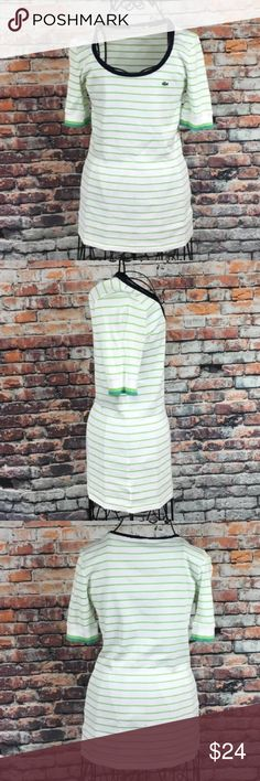 Lacoste Fashion Circle Neck T-Shirt Size 36 Lacoste Fashion Circle Neck T-Shirt Womens Size 36 (4 according to size chart) Striped Green White (N).   See pictures for measurements Lacoste Tops Tees - Short Sleeve