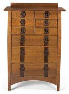 """Gustav Stickley (1858-1942).   Oak and Beech Tall Chest of Drawers (Model Number 913). Copper Hardware and Iron Studs. Circa 1910-1912. 50-1/2"""" x 36"""" x 20"""" (128.2cm x 91.5cm x 50.8cm)."""