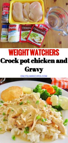 Weight watchers crock pot chicken and gravy weightwatchers weight_watchers healthy skinny_food recipes smartpoints crockpot chicken basic cauliflower fritters vegetarian cooking Poulet Weight Watchers, Plats Weight Watchers, Weight Watcher Dinners, Weight Watchers Chicken, Weight Watchers Crock Pot Chicken Recipe, Weight Watchers Food, Weight Watcher Recipes, Weight Watchers Lunches, Skinny Recipes