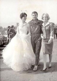 """1959 - Мишель Мерсье, Анри Видаль и Роми Шнайдер на съемках фильма """"Единственный Ангел на Земле"""""""