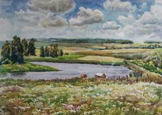 Original Watercolor Landscape Painting. 16.5'' x 23.4'' Summer Landscape. Field, sky and freedom. on Etsy, Sold