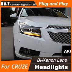(508.50$)  Buy here  - A&T Car Styling for Chevrolet Cruze Headlights Bi Xenon LED Headlight DRL Lens Double Beam H7 HID bi xenon lens