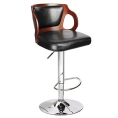 Homall Bar Stool Walnut Bentwood Adjustable Height Leather Modern Barstool with Back Vinyl Seat Extremely Comfy Bar Stools (Walnut 1 Piece) Cool Bar Stools, Modern Bar Stools, Swivel Bar Stools, Swivel Chair, Stool Chair, Eames Chairs, Bar Chairs, Dining Chairs, High Chairs