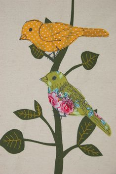 www.facebook.com/littleemucreations  screenprint, applique and freehand machine embroidery detailing - birds