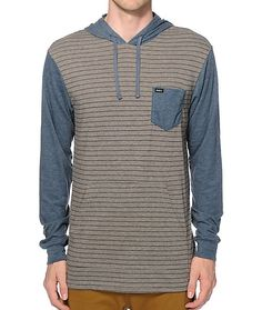 Add a lightweight style to your wardrobe with an midnight stripe design on a grey body and contrasting midnight blue sleeves and left chest pocket.